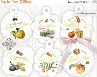 ON SALE Home Made Jam Tags or Labels. Set of 7. Digital Collage Sheet.