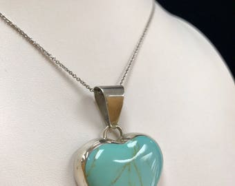 Vintage Mexico 925 Sterling Silver Heart  Green Turquoise Pendant!!!  Free US Shipping!!!