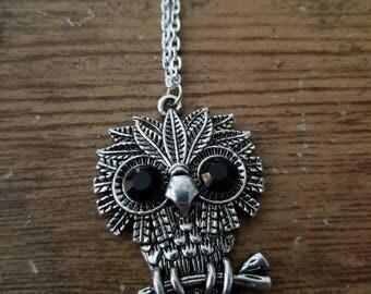 Adorable Silver Owl Necklace
