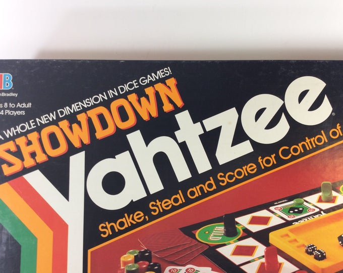 Vintage Showdown Yahtzee from 1991, Shake, steal and score for control of the board, family fun night, showdown yahtzee, Milton bradley game