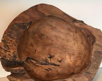 Vintage massive wooden bowl