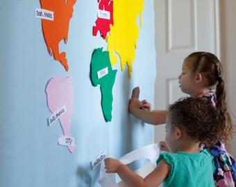 Kids Felt Map, Montessori Map, Montessori Materials, Montessori Gift, Montessori Classroom, Montessori Geography, Handmade, Waldorf Toy