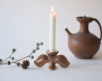 Vintage Brass Candlestick with Leaves - Harjes - Germany