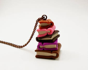 Tiny book necklace, Stacked books necklace, Colorful tiny book, Polymer clay books, Book lover gift, Pile of books pendant, Boho necklace