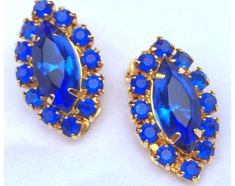 Bright Blue Rhinestone Earrings, Blue and Gold Clip on earrings
