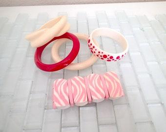 Mid Century Bangles Bracelets Pink Zebra Red Polka Dot White - LOT of 5 1950s Bracelets