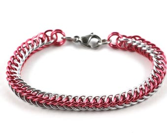 Persian Chainmaille Bracelet   Hand Crafted Chainmaille Jewelry   Handmade Bracelet   Pink and Silver   Anodized Aluminum