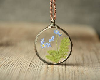 pressed flower necklace, bridesmaid gift, glass pendant, boho, girlfriend gift, nature necklace, real flower jewelry, unique necklace
