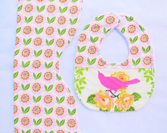 Baby Bib & Burp Cloth Set  - Boutique Bird
