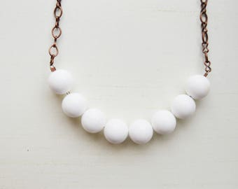 White Porcelain Beaded Copper Necklace, 20""