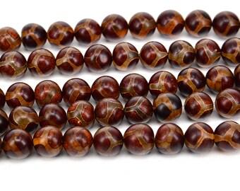 "15""  Smooth  Tibetan  Agate dZi  beads  round  bead , Football  --10mm"