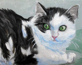 "Cat Art Print from my Original Oil Painting Portrait, 5"" x 7"", Black and White Cat Giclee"
