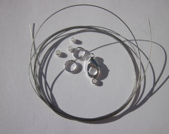 1 meter of cable wire-wrapped rings, clasp, crimp (K12 beads