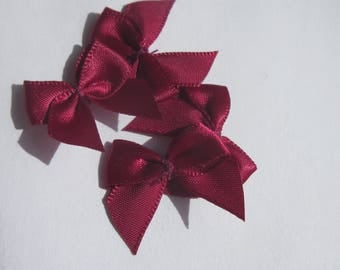 4 fabric satin bows Garnet 23x25mm - (A132)