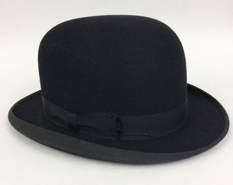 Vintage 20s 30s STETSON ROTHSCHILD Mens Black Bowler Hat RARE