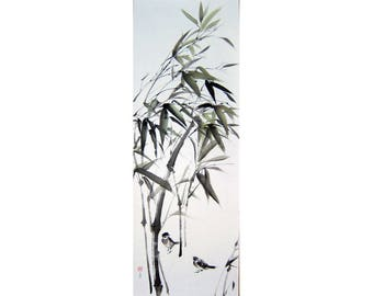 Japanese Ink Painting Ink art Japanese art Asian art Sumi-e Suibokuga Bird painting  Large art Sparrows and Bamboo