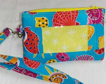 Sea Shells Wallet with ID Window and Lanyard
