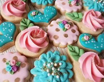 2 Dozen Small Pink & Blue Floral Sugar Cookie Set - Flower Sugar Cookies Rosette Cookies Heart Cookies Bridal Shower Cookies Glitter Cookies