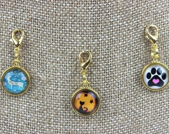 Planner Charm - Deer, Cat, Dog Patterned Planner Jewelry, Accessories