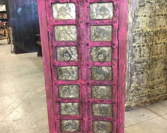 Antique Almirah Pink Jaipuri Brass Camel Carved Wardrobe Cabinet Shabbychic Interiors Design FREE SHIP