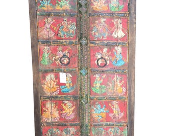 Antique Indian Wardrobe Hand painted Ganesha Sabby Chic Cabinet Armoire One of Unique Kind Bohemian Decor CYBER SALE