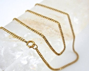 Summer Sale Necklace 14k Yellow Gold Chain 16 inch Curb Chain