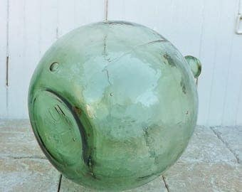 French Dame Jeanne vintage glass bottle French vintage bottle 5L sea green glass wine demijohn