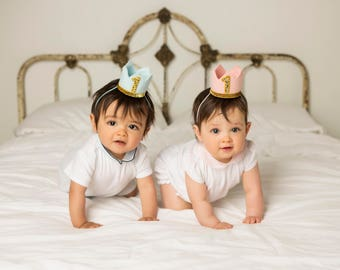 Twin Birthday Crowns    Twins Party Hats    Party Hat    Little Blue Olive    Baby Blue Pink and Gold