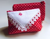 Red Makeup bag with Vintage Embroidery, Red Cosmetics Pouch, Necessities Bag, Cute Zippered Pouch, Prescription Bag, Nec78