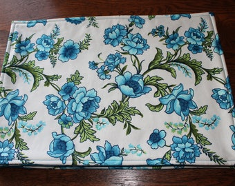 Turquoise Blue Floral Reversible Placemats - Set of 4