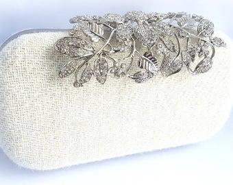 Crème sac pochette Harris Tweed, minaudière, mariée, mariage