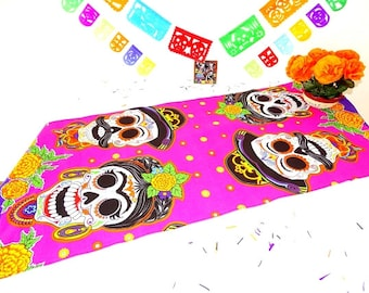 halloween table runner 14x60 inches dia de los muertos mexican table runner fiesta