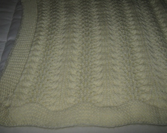 New Hand Knit Baby Shawl / Blanket / Wrap