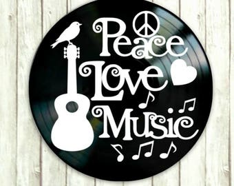 Peace Love Music quote - Vinyl lettering on vinyl record - Inspirational quote art -Vinyl record art - music lovers gift - hippie gift
