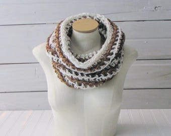 Hand Crocheted Infinity Scarf Hand Crocheted Circle Scarf Brown and Off White Loop Scarf