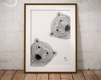 POLAR BEAR PRINT, Nursery Print, Polar Bear Nursery, Polar Bear Art, Printable Polar Bear Poster, Printable Decor, Black and White Art, Bear