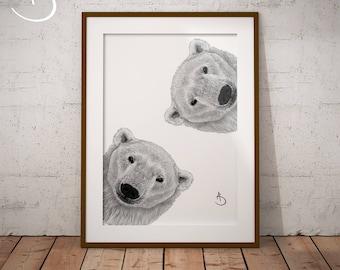POLAR BEAR PRINT, Nursery Print, Polar Bear Nursery, Polar Bear Art, Printable Polar Bear Poster, Printable Decor, Black and White Art, Bear
