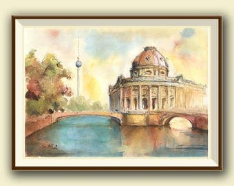 Berlin painting - Museum island Cityscape - Pergamon museum island Capital Europe - Berlin art - Watercolor painting & Prints by Juan Bosco