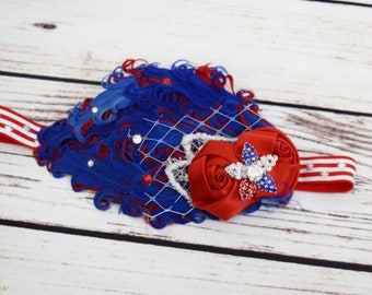 Handcrafted 1920s Inspired July 4th Headband - Red White and Blue Feather Headband - Fancy Baby Headband - Adult Flapper Girl Headpiece
