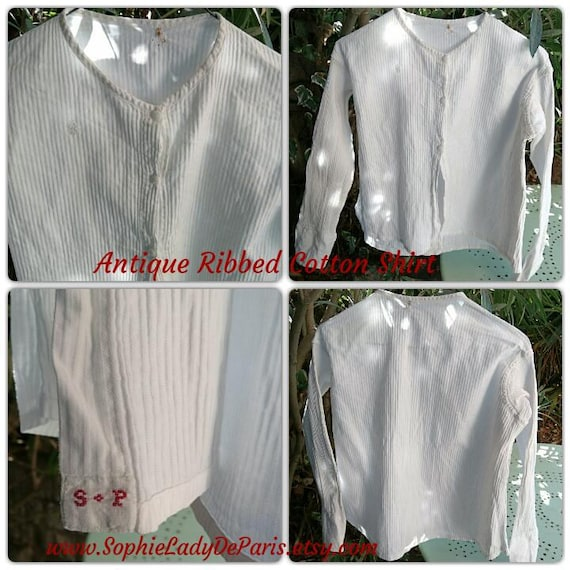 Victorian Ribbed Cotton Shirt White French Long Sleeves Blouse Red Initials Medium Large Collectible Movie Costume #sophieladydeparis