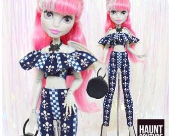 "Monster Doll Haunt Couture 2017 ""Scarisian Navy Nights"" high fashion doll clothes | Doll Dress | Trendy | Blue | Fleur de Lis | Scaris"