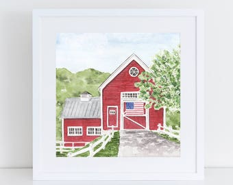 Old Red Barn with American Flag Watercolor Fine Art Print Americana Patriotic Country Life