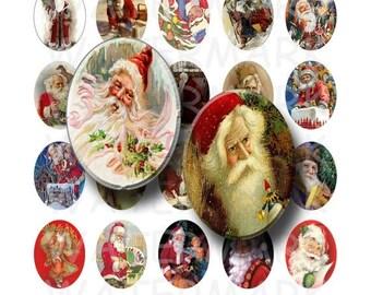 SALE- Vintage Santa Claus - Digital Collage Sheet   - 30x40mm Ovals  - INSTANT DOWNLOAD