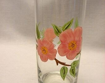 One Vintage Franciscan Desert Rose Tumbler Glass 14 oz Brown Stems Multiples Available