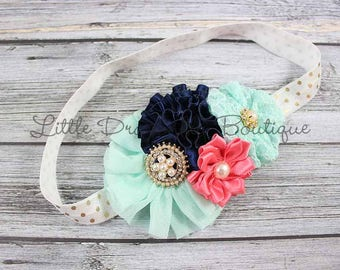 Aqua navy pink gold headband {cluster headband, fancy headband, Christmas headband}