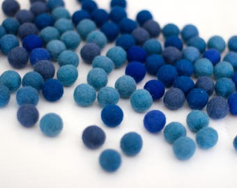 Mixed Blue Wool Felt Balls, Approx. 2 cm - Felt Pom Poms- 100 pieces