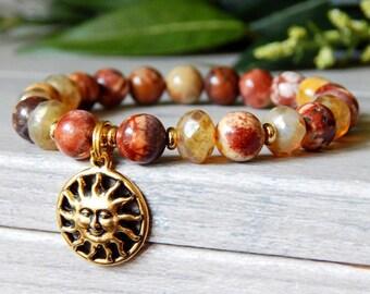 Sun Bracelet, Beaded Bracelet, Gemstone Bracelet, Red Beaded Bracelet, Boho Bracelet, Sun Charm, Bohemian Jewelry, Jasper Bracelets