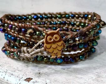 4 Wrap Bracelet, Tiny Heliotrop Beads & Swarovski Crystals, Chan Luu Inspired, Antique Style Owl Button FREE SHIPPING!