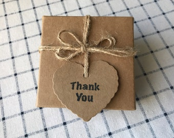 50pcs Heart Kraft Paper Thank You Gift Tags • Wedding Party Baby Shower Christening Baptism Birthday Anniversary Easter Favour Tags