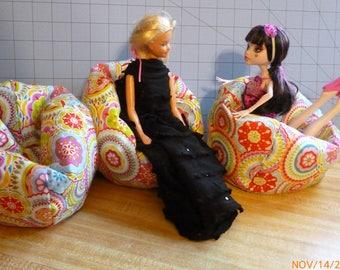 Set of 3, Fiesta Medallion bean bag chairs for Barbie Monster High size dolls